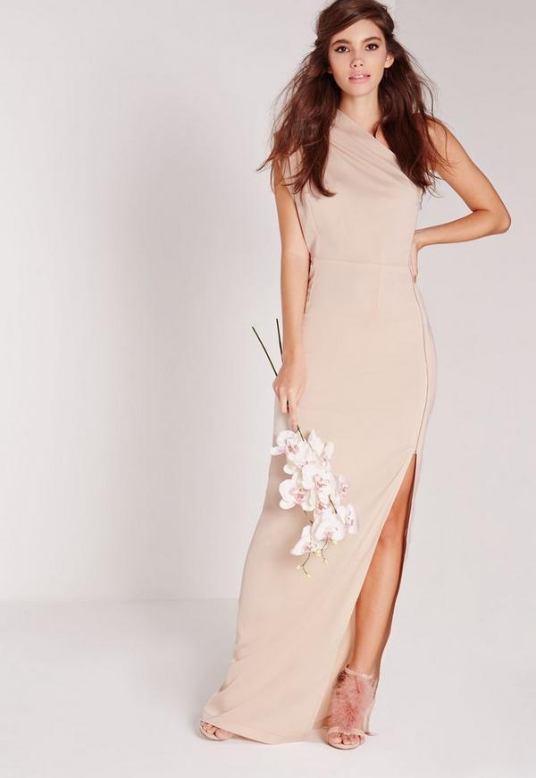 Zip Detail One Shoulder Maxi Dress Nude