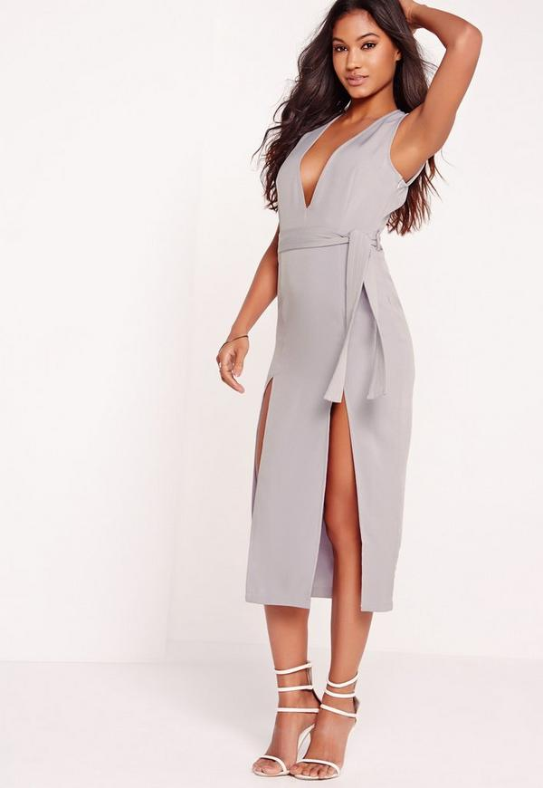 tie waist thigh split midi dress grey