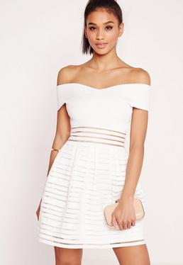 Robe patineuse col bateau blanche effet bandage