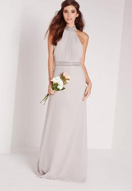 Embellished Neck Maxi Dress Grey