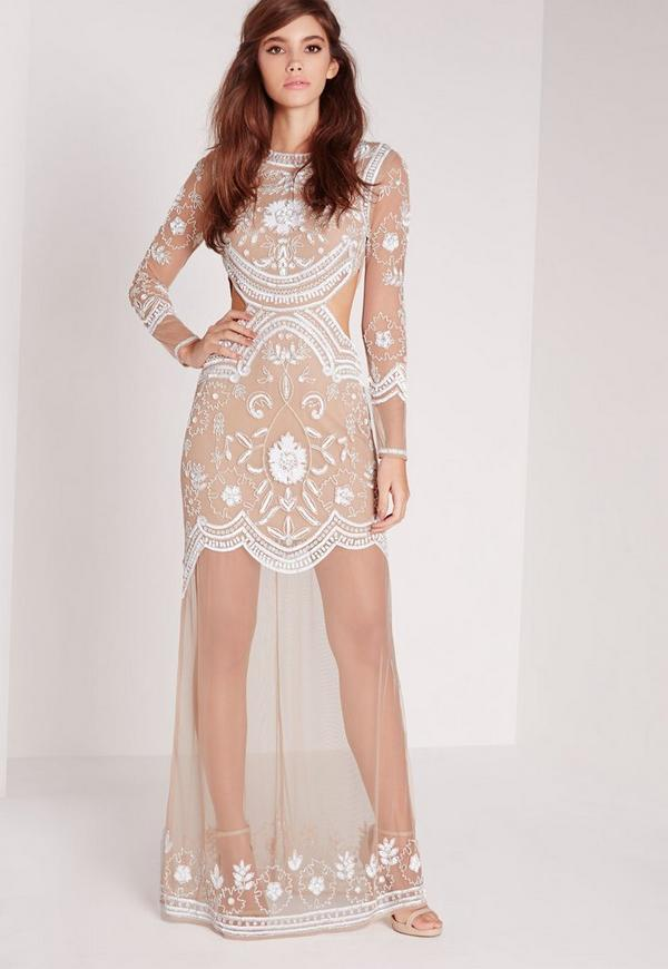 Bridal Embellished cut out maxi dress nude/white