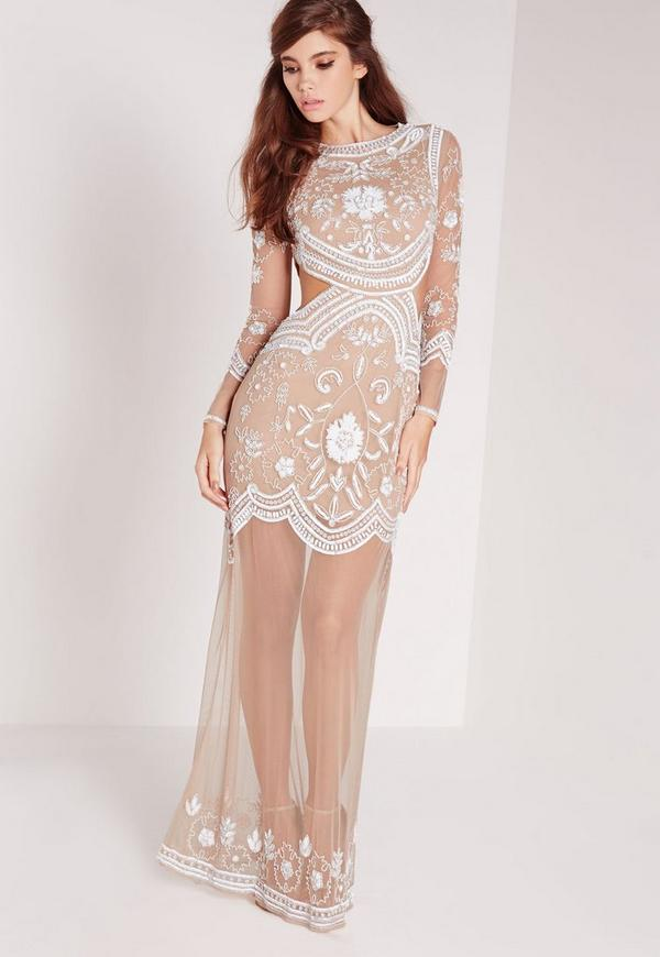 Bridal embellished cut out maxi dress nude white missguided for Second wedding dresses not white