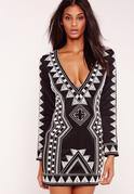 Premium Beaded Plunge Bodycon Dress Black