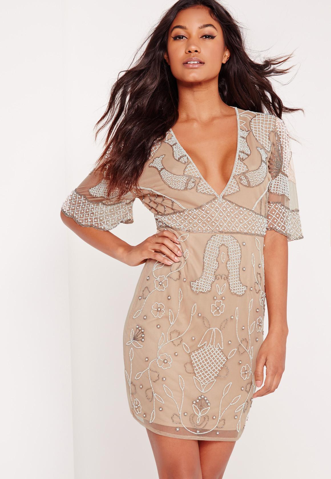 Embellished Kimono Sleeve Plunge Dress Nude | Missguided Australia
