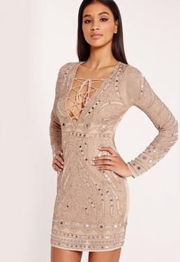 Premium Embellished Bodycon Dress Nude