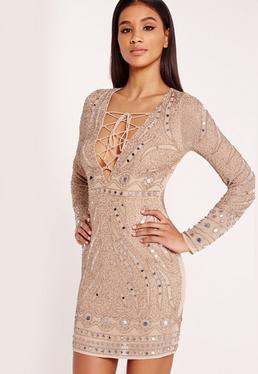 Premium Embellished Bodycon Dress Nude