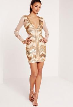 Premium Sequin Embellished Chevron Plunge Bodycon Dress Gold