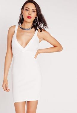 Ponte Plunge Bodycon Dress White