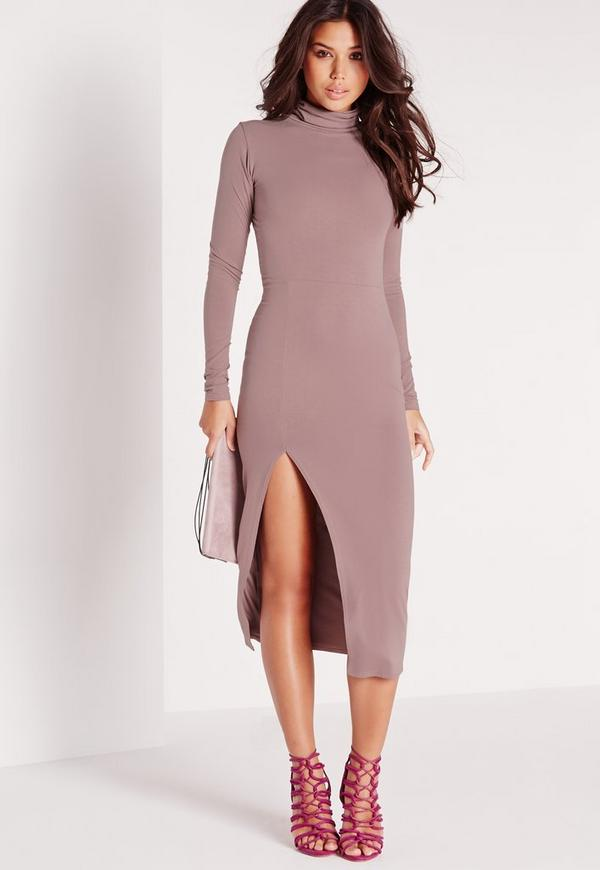 High Neck Extreme Side Split Midi Dress Mauve