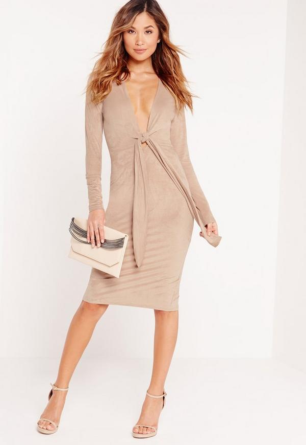 Faux Suede Knot Front Midi Dress Camel