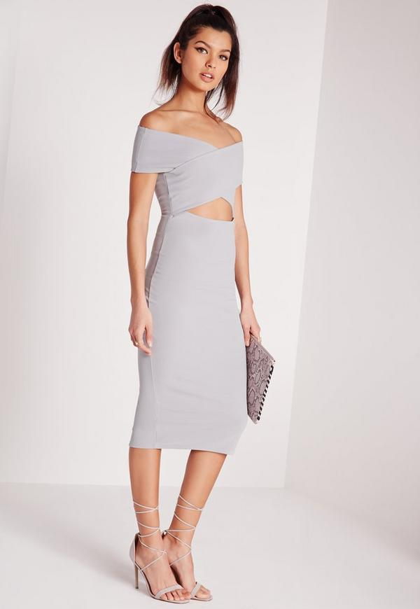 Cut Out Bardot Midi Dress Grey