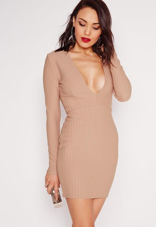 Textured Long Sleeve Plunge Bodycon Dress Taupe