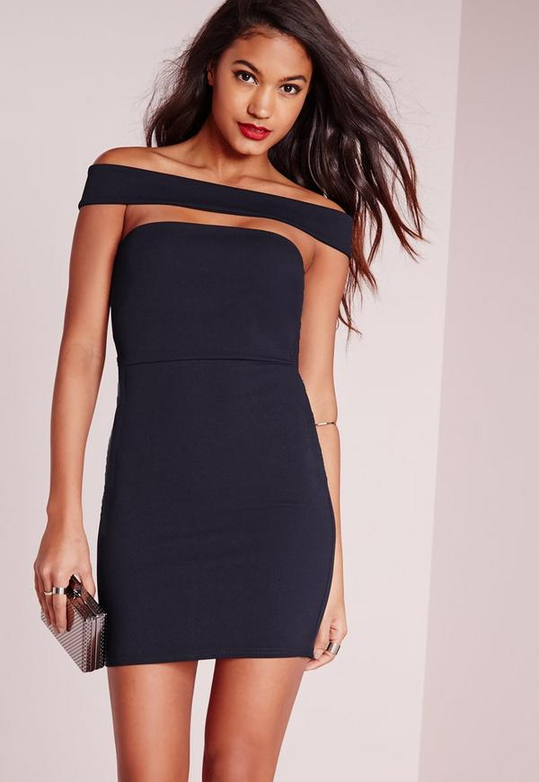 Cut Out Panel Bardot Bodycon Dress Navy