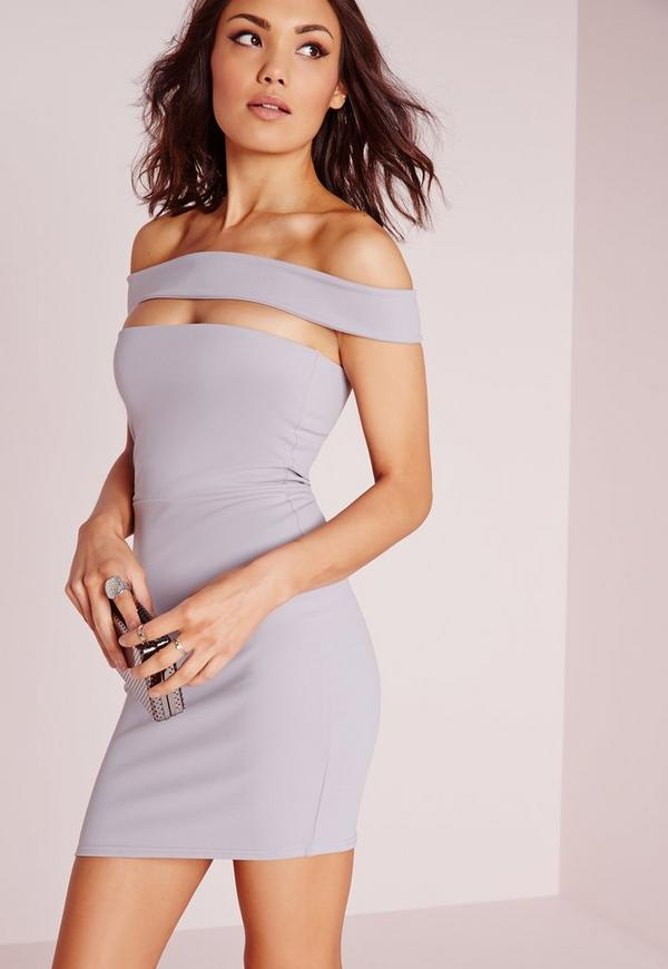 Cut Out Panel Bardot Bodycon Dress Ice Grey
