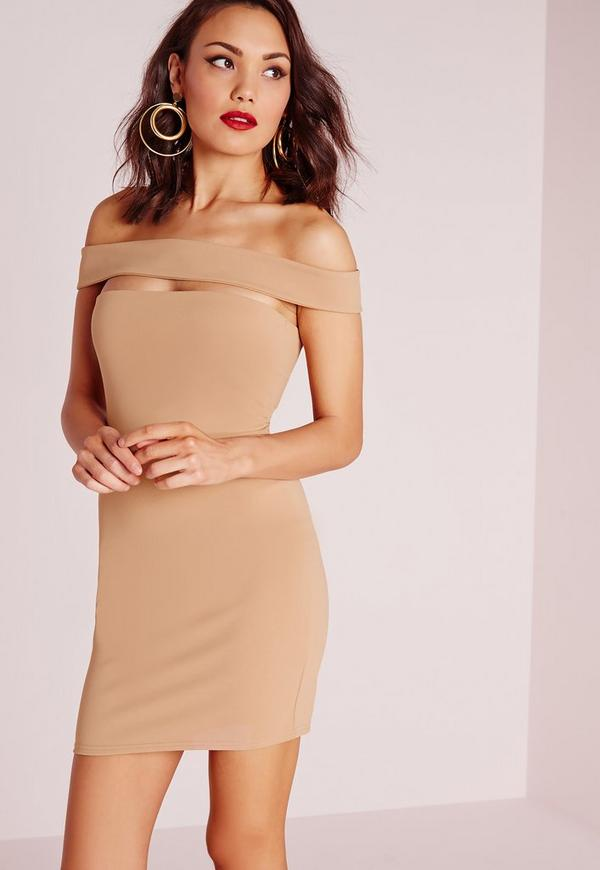 Cut Out Panel Bardot Bodycon Dress Camel