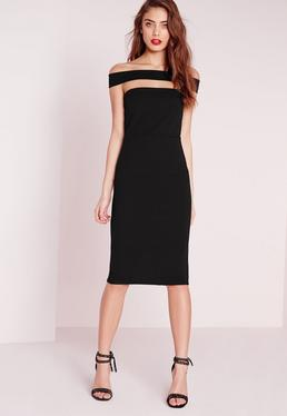 Cut Out Panel Bardot Midi Dress Black