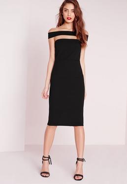 Cut Out Panel Bardot Midi Dress Black