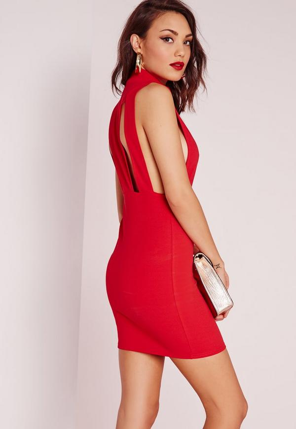 High Neck Open Side Bodycon Dress Red