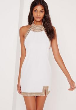 Embellished Neck Detail Halter Swing Dress White