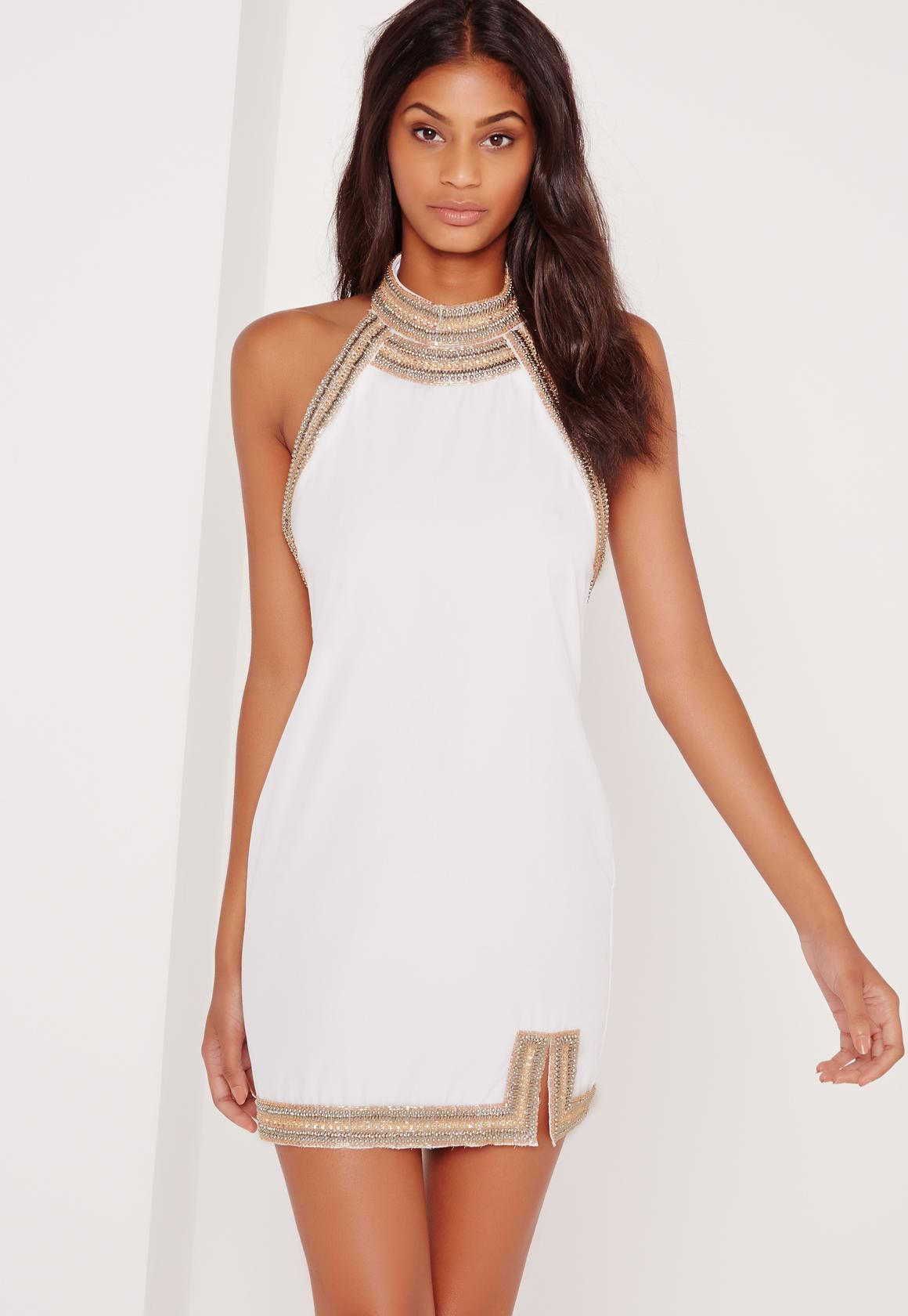Embellished Neck Detail Halter Swing Dress White - Missguided