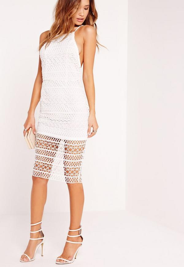 Square Neck Lace Midi Dress White