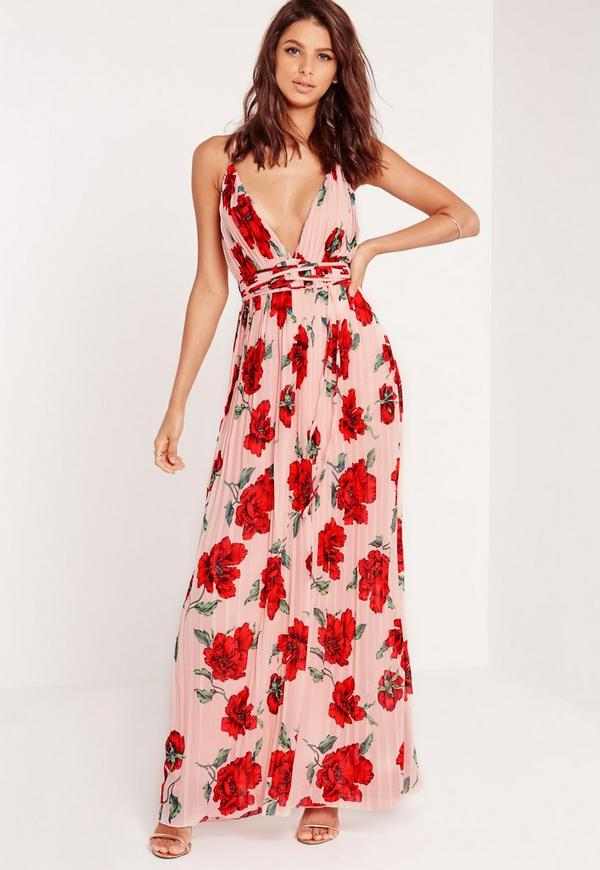 Strappy Plunge Floral Maxi Dress Nude