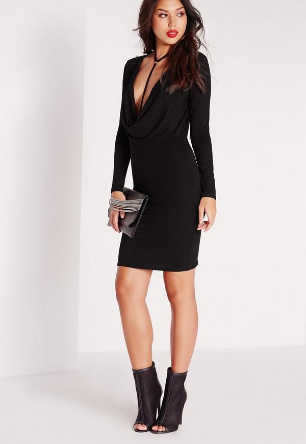 Jersey Cowl Neck Bodycon Dress Black