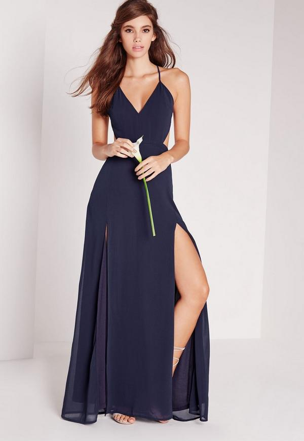 Strappy Cut Out Maxi Dress Navy
