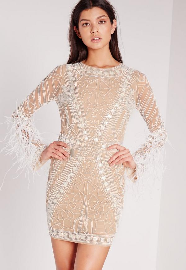 Premium Feather Sleeve Beaded Bodycon Dress White