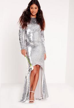 Bridal Sequin Open Back Maxi Dress Silver