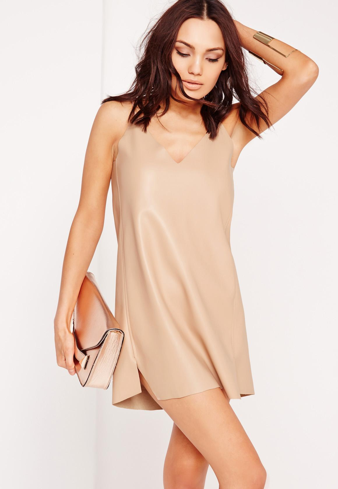 Faux Leather Cami Dress Taupe
