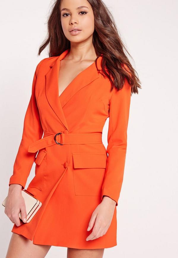 Long Sleeve D-Ring Detail Blazer Dress Orange