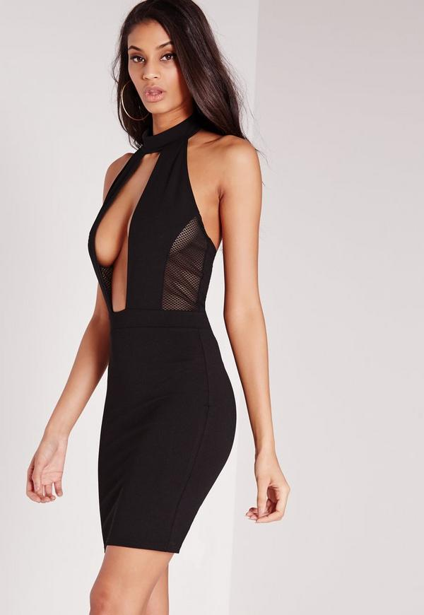 Black bodycon dress with mesh insert