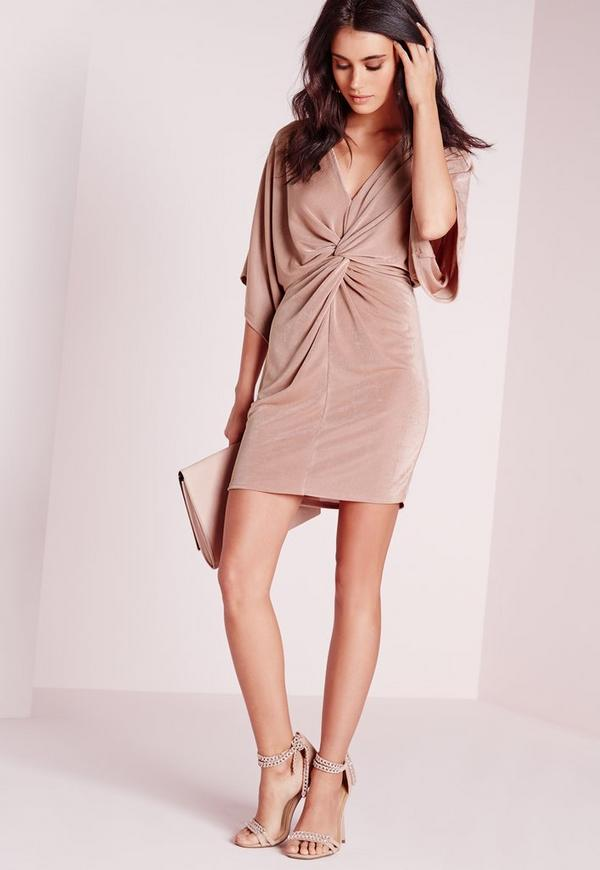 Slinky Kimono Mini Dress Rose
