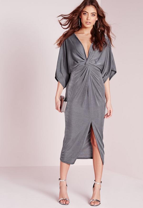 Slinky Kimono Midi Dress Grey