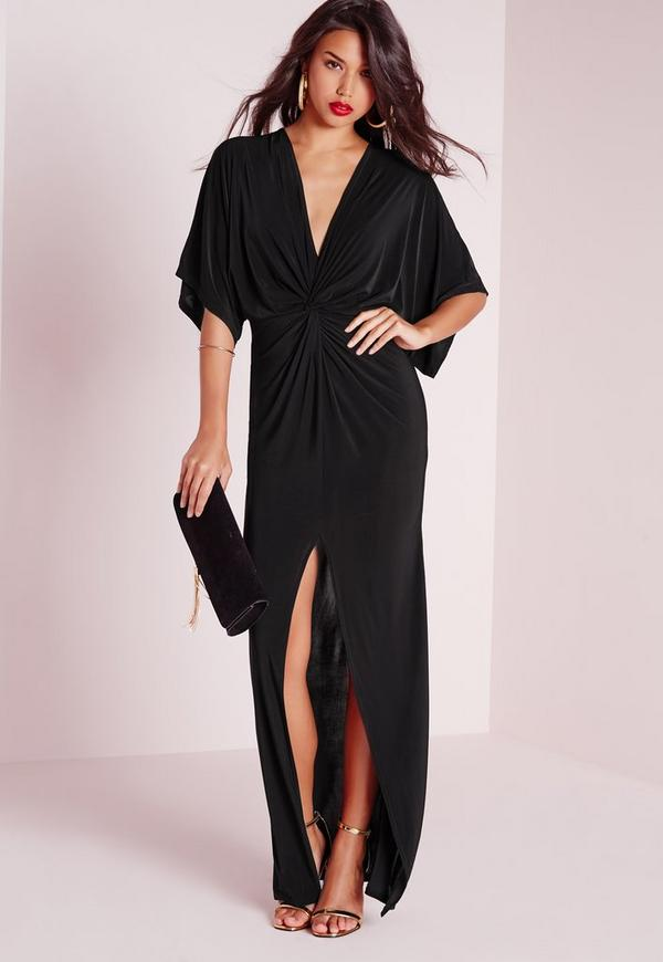 robe longue fluide noire manches kimono missguided. Black Bedroom Furniture Sets. Home Design Ideas