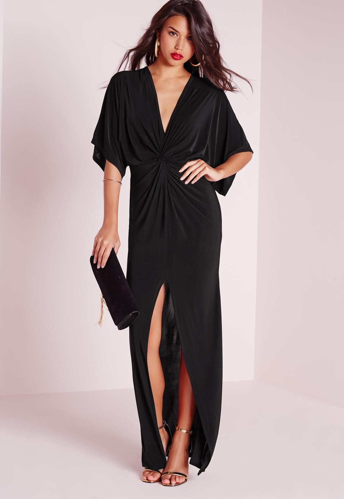 Slinky Kimono Maxi Dress Black | Missguided