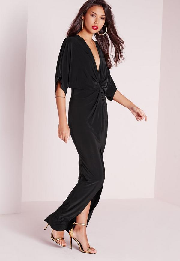 Black kimono maxi dress