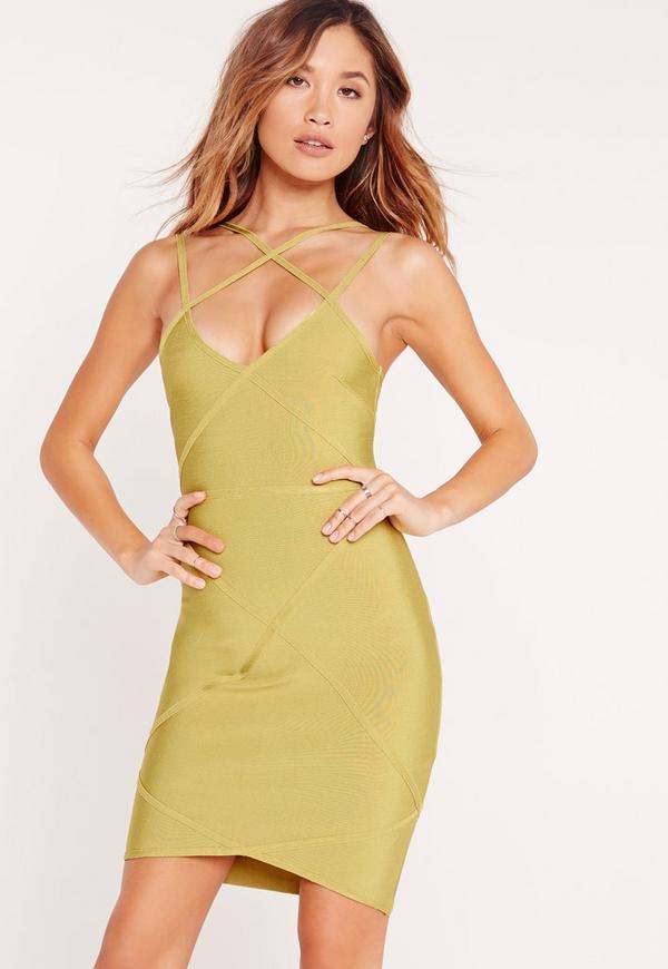 Premium Cross Strap Detail Bandage Bodycon Dress Green