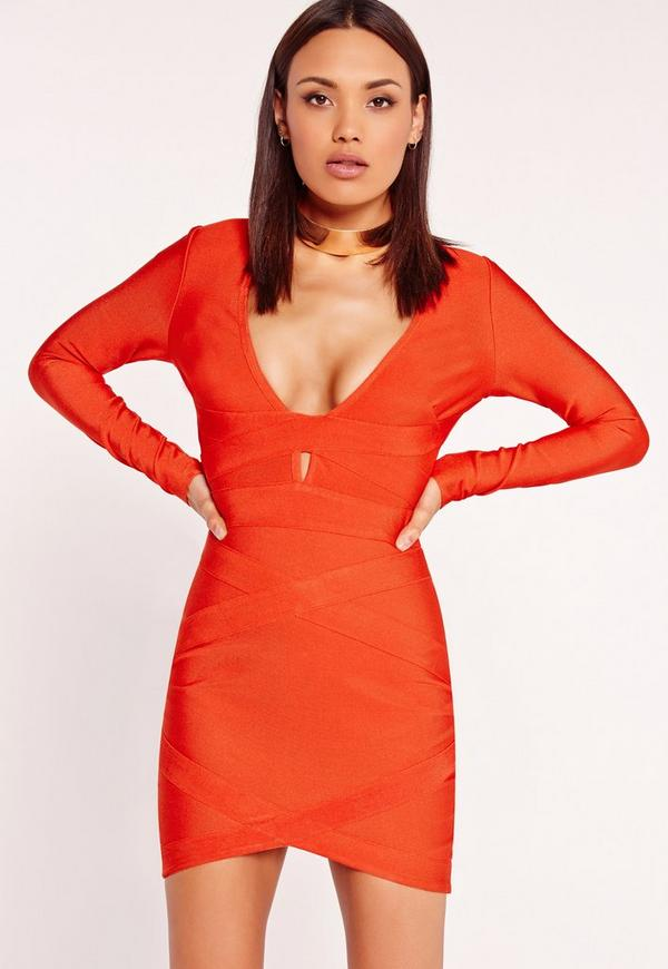 Premium Long Sleeve Bandage Bodycon Dress Red