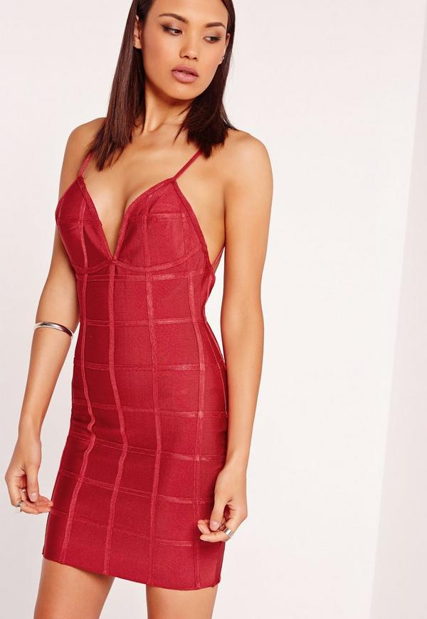 Premium Strappy Grid Bandage Bodycon Dress Pink