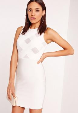 Premium Sleeveless Bandage Criss Cross Bodycon Dress White