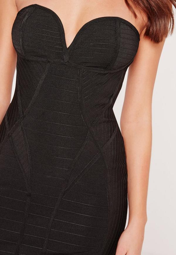 Premium Strapless Bandage Bodycon Dress Black  c3f2a00c3