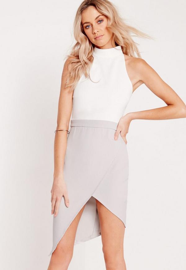 Contrast High Neck Midi Dress White/Grey