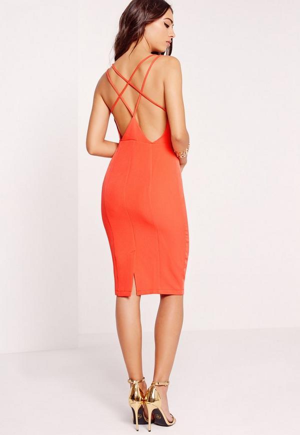 Strappy Back Midi Dress Orange