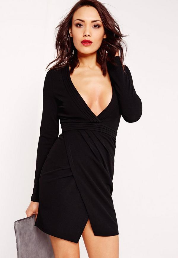 Long Sleeve Pleated Bust Plunge Bodycon Dress Black