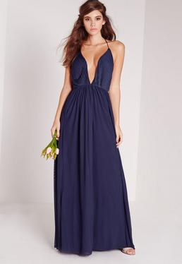 Strappy Pleated Plunge Maxi Dress Navy