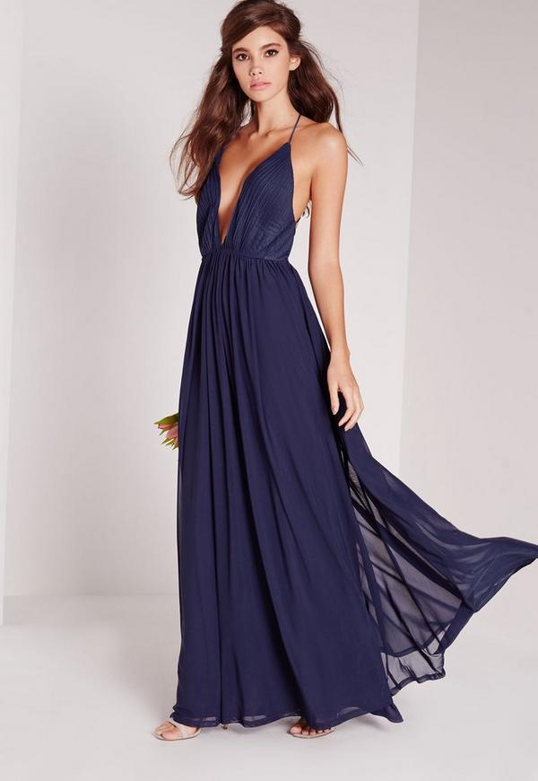 Strappy Pleated Plunge Maxi Dress Navy | Missguided