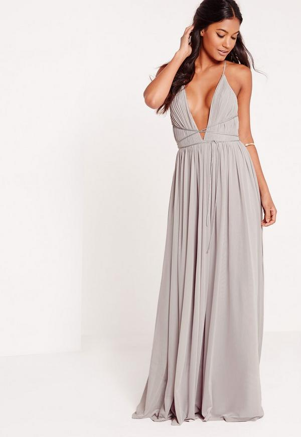 Strappy Pleated Plunge Maxi Dress Grey