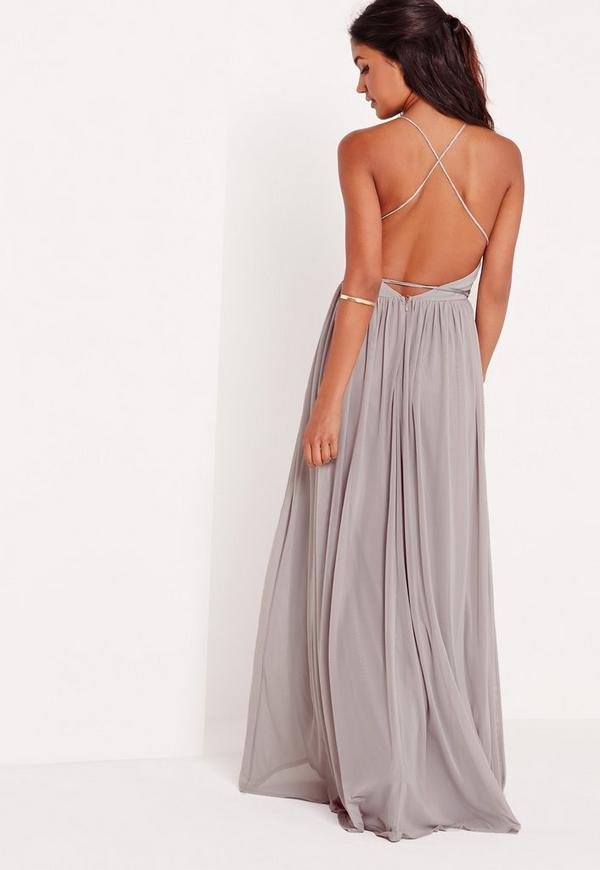Strappy Pleated Plunge Maxi Dress Grey | Missguided